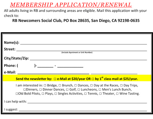 Rancho Bernardo Newcomers Social Club - Newsletter - Archive ... on country club application form, social club members, school club application form, social club membership form, club membership application form, social club rules, social media membership form, social club floor plans, social club activities, social club background, social club events,